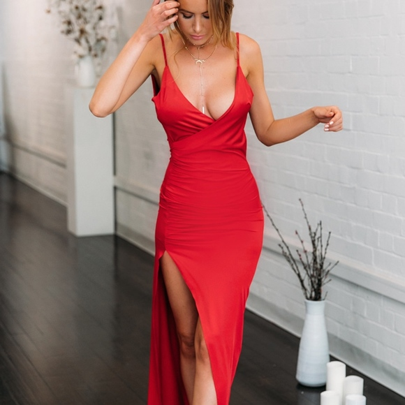 Hello Molly Dresses & Skirts - Plunged front and Draped back Maxi dress with Slit